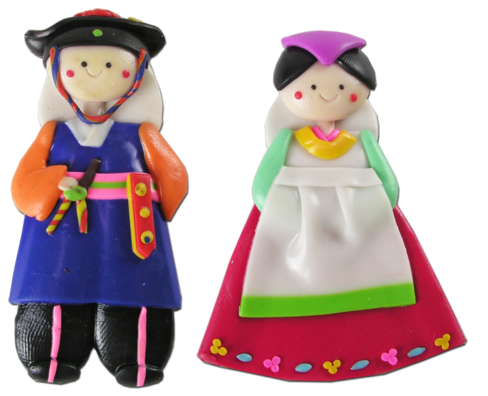 Traditional Korean Wedding Gifts: 10Pairs(20PCS) Korean Doll Fridge Magnets Hanbok Couple